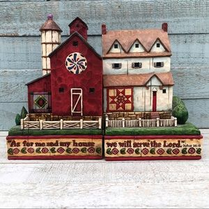 Jim Shore House & Barn Bookends